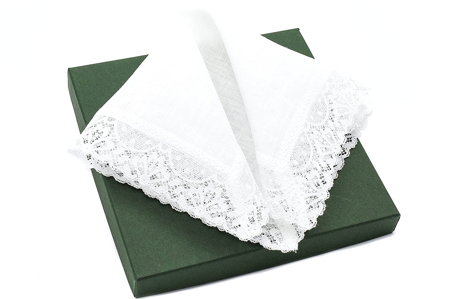 Thomas Ferguson Women's Small White Linen Lace Handkerchief 10 x 10 in Gift Box