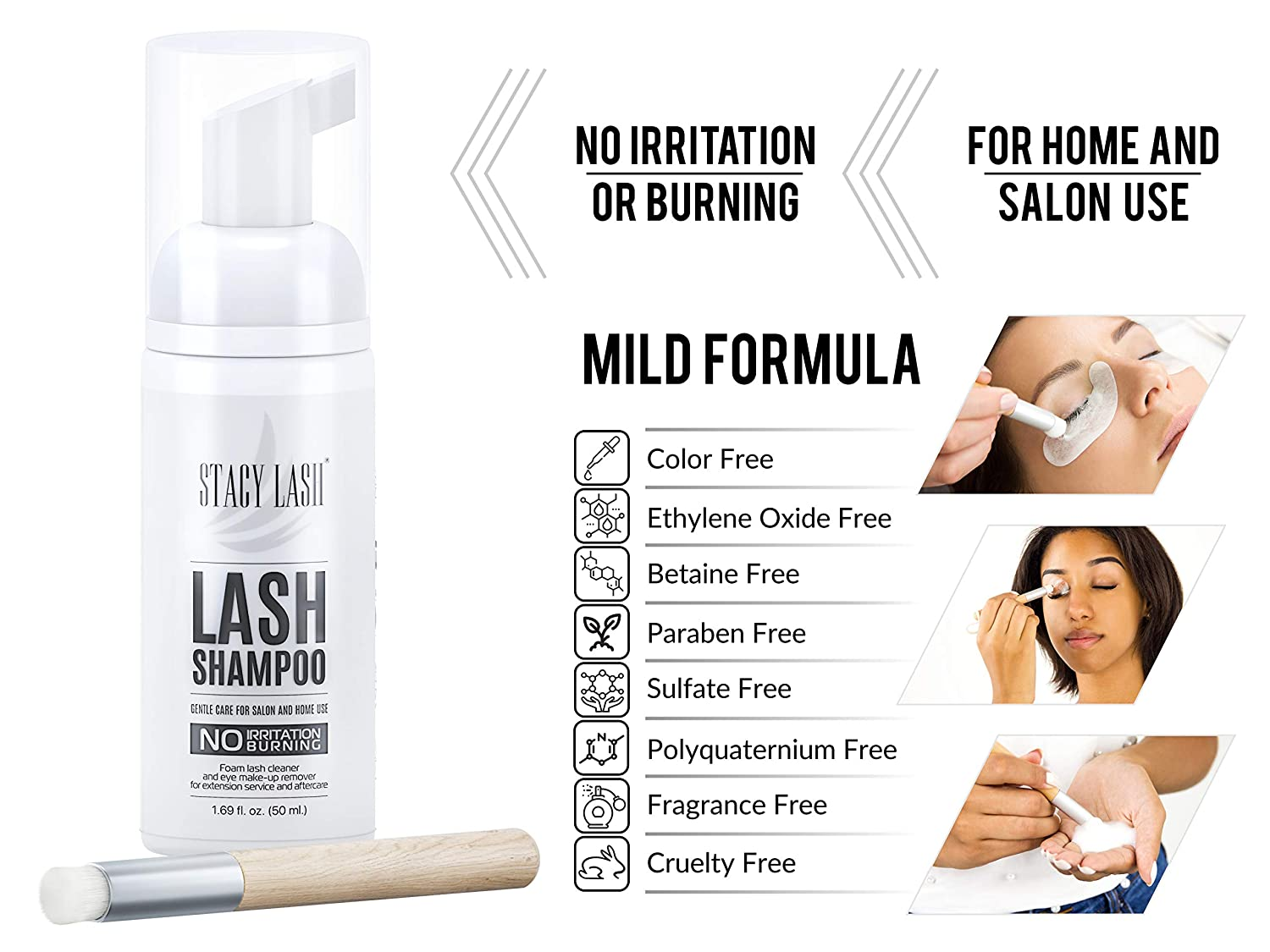 Eyelash Extension Shampoo Stacy Lash + Brush / 50ml / Eyelid Foaming Cleanser / Wash for Extensions and Natural Lashes / Paraben & Sulfate Free Safe Makeup & Mascara Remover / Professional & Self Use : Beauty