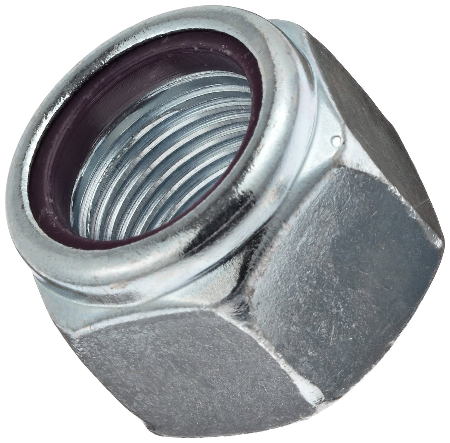 Steel Hex Nut, Zinc Plated Finish, Grade 5, Self-Locking Nylon Insert, Right Hand Threads, 1''-8 Threads, 1.615'' Width Across Flats (Pack of 5) by Small Parts