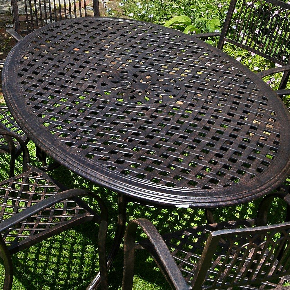 Nicole 180cm Ovales Gartenmöbelset Aluminium - 1 NICOLE Tisch + 6 ROSE Stühle