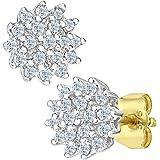 Naava Orecchini a Perno da Donna, Oro Giallo, Diamante, Rotondo