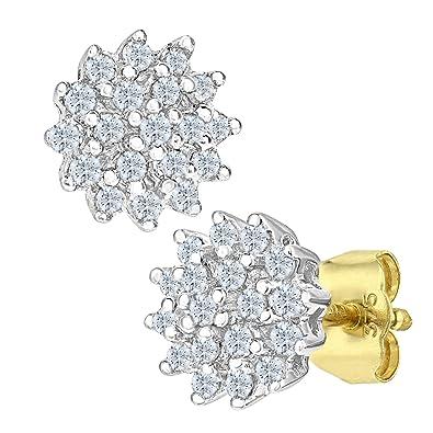 5176001fd Naava Women's 0.25 ct Diamond Cluster 9 ct Yellow Gold Stud Earrings:  Amazon.co.uk: Jewellery