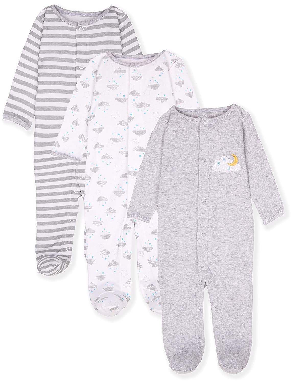 Maybe Baby Kids Infant Boys' and Girls' 3 Pack Cotton Snap Sleep & Play Set w/Footies