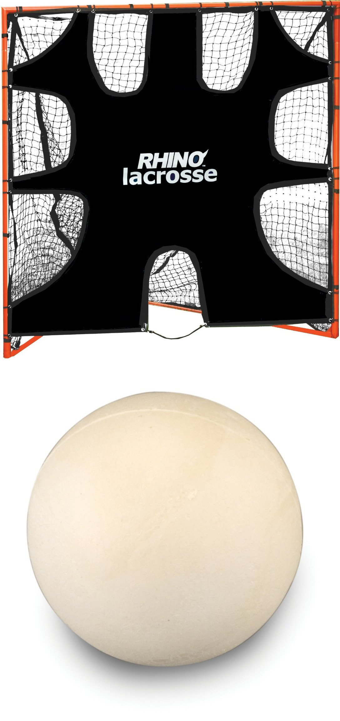 Champion Lacrosse Goal Target+Soft hollow training lacrosse ball. pack 6 WHITE