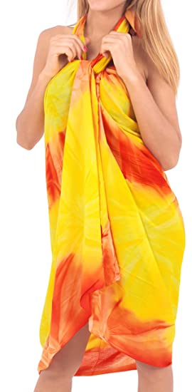 "6503afbb5132d9 LA LEELA Rayon Resort Suit Women Wrap Beach Sarong Tie Dye  78""X43"" Orange_5188"