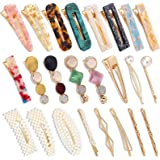 24 Pcs Ftotwhsen Hair Clips for Women, Pearls and Acrylic Resin Hair Barrettes for Women, Cute Hair Pins for Women, Fashion H