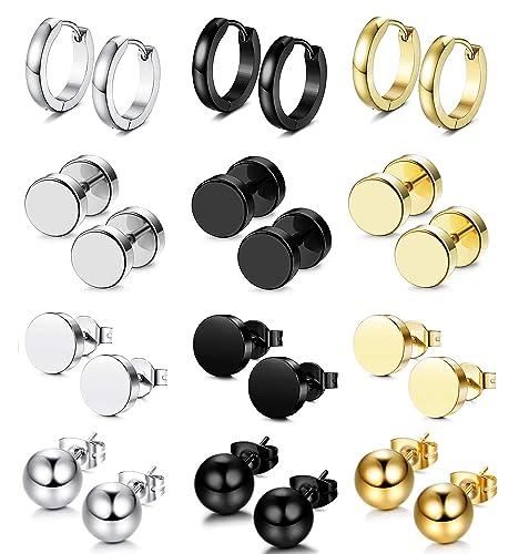 029d2c1c93 Bestee 12 Pairs Stainless Steel CZ Stud Earrings Hoop Earrings Gauge  Earrings Set for Men Women