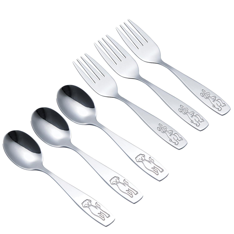 Sunwinc 6-Piece Kids Spoon and Fork Set.18/0 Stainless Steel.Baby Spoons Toddler Fork Kids Silverware Eating Utensils Cutlery Set Children Silverware Flatware Dinnerware.Toddler Metal Fork and Spoon