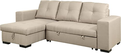 HOMES Inside Out Charlton Contemporary Corner Sectional with Pull-Out Sleeper, Ivory