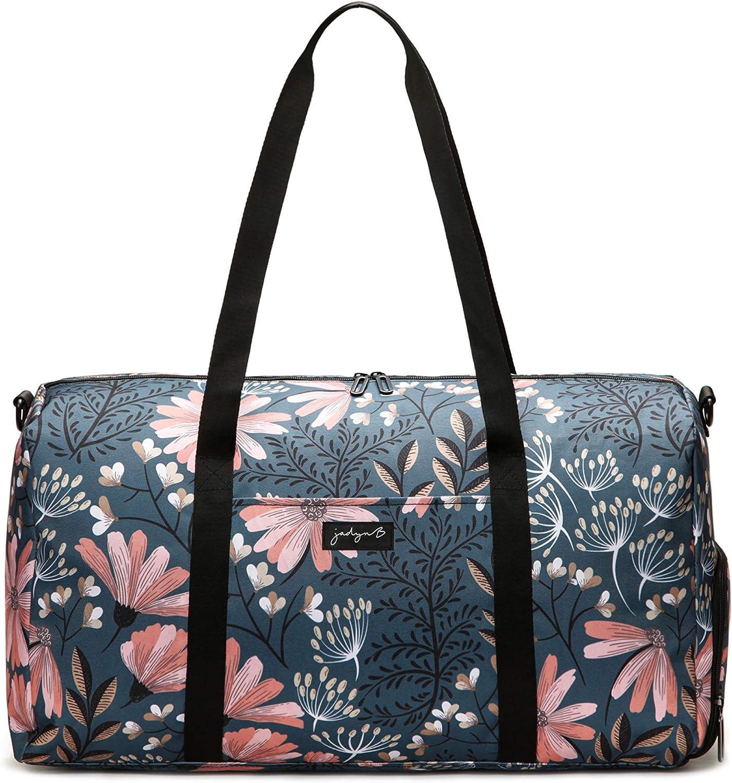 Jadyn B Weekender Bag - 56 cm./ 52L - Bolsa de Lona con Bolsillo para Zapatos (Navy Floral)