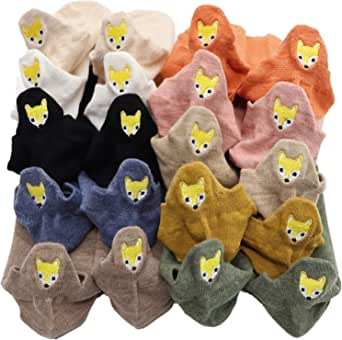 10 Pairs 10 Colors Kawaii Embroidered Expression Women Socks Ankle Funny Socks Women Cotton Candy Color Cute Ankle Socks Novelty Women Fashion Cute Socks