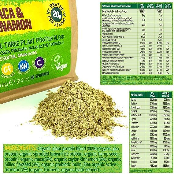 BodyMe Mezcla de Proteina Vegana Organica en Polvo | Cruda Maca Canela | 1kg | Sin Edulcorante | Baja Carb | Sin Gluten | 3 Proteinas Veganas | 20g ...
