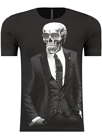a8d0738b12a19a Guns   Wings T-Shirt - Blackrock Herren Slim Fit Totenkopf Skull Bones Adler  (