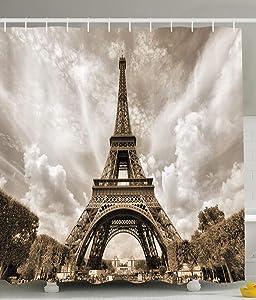 "Ambesonne Paris Shower Curtain, Eiffel Tower Picturesque Famous Landmark Monument Sky Monochrome Image Print, Cloth Fabric Bathroom Decor Set with Hooks, 70"" Long, White Black"