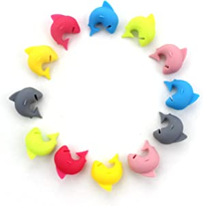 Set of 12 - Shark Mark Silicone Drink Markers or Wine Glass Charms - Great Birthday or Hostess Gift for Wine Lovers - Fun Party Supply Cute Shark Glass Identifiers (6 Colors)