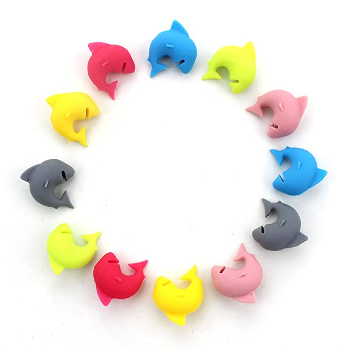 Set of 12 - Simply Charmed Shark Mark Silicone Drink Markers or Wine Glass Charms - Great Birthday or Hostess Gift for Wine Lovers - Fun Party Supply Cute Shark Glass Identifiers (6 Colors)