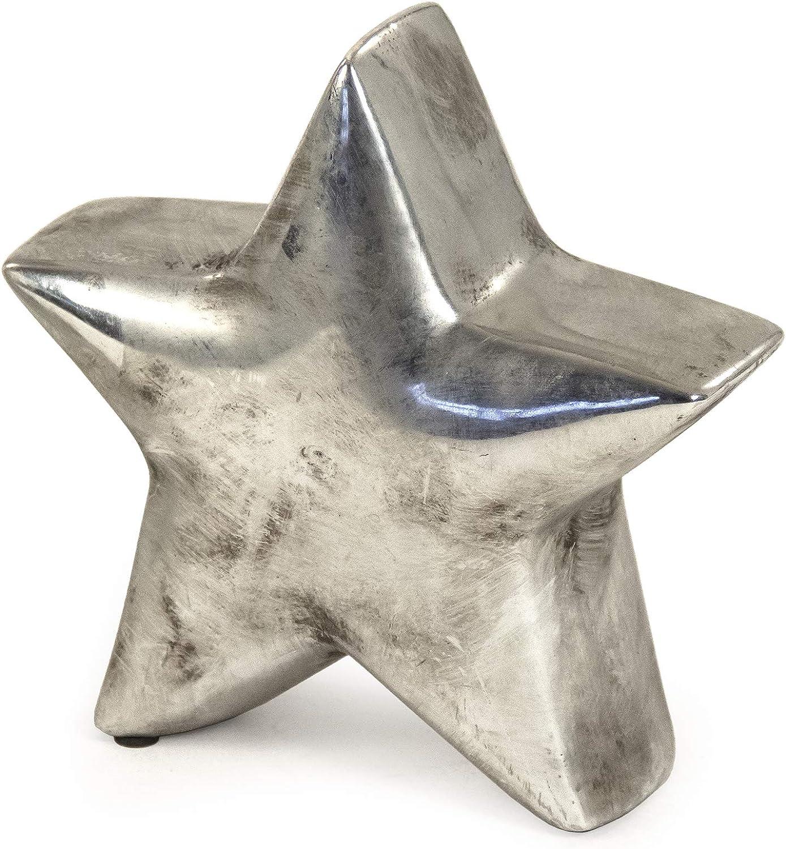 ZENTIQUE Distressed Metallic Star Accent Décor, One Size, Silver
