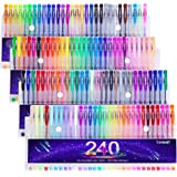 Tanmit 240 Gel Pens Set Colored Gel Pen plus 120 Refills for Adults Coloring Books Drawing Art Markers (No Duplicates)