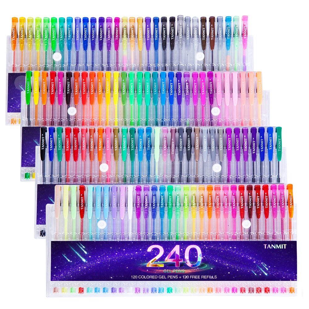 Tanmit 240 Color Gel Pens Set for Adult Coloring Books, Writing, Kid Drawing