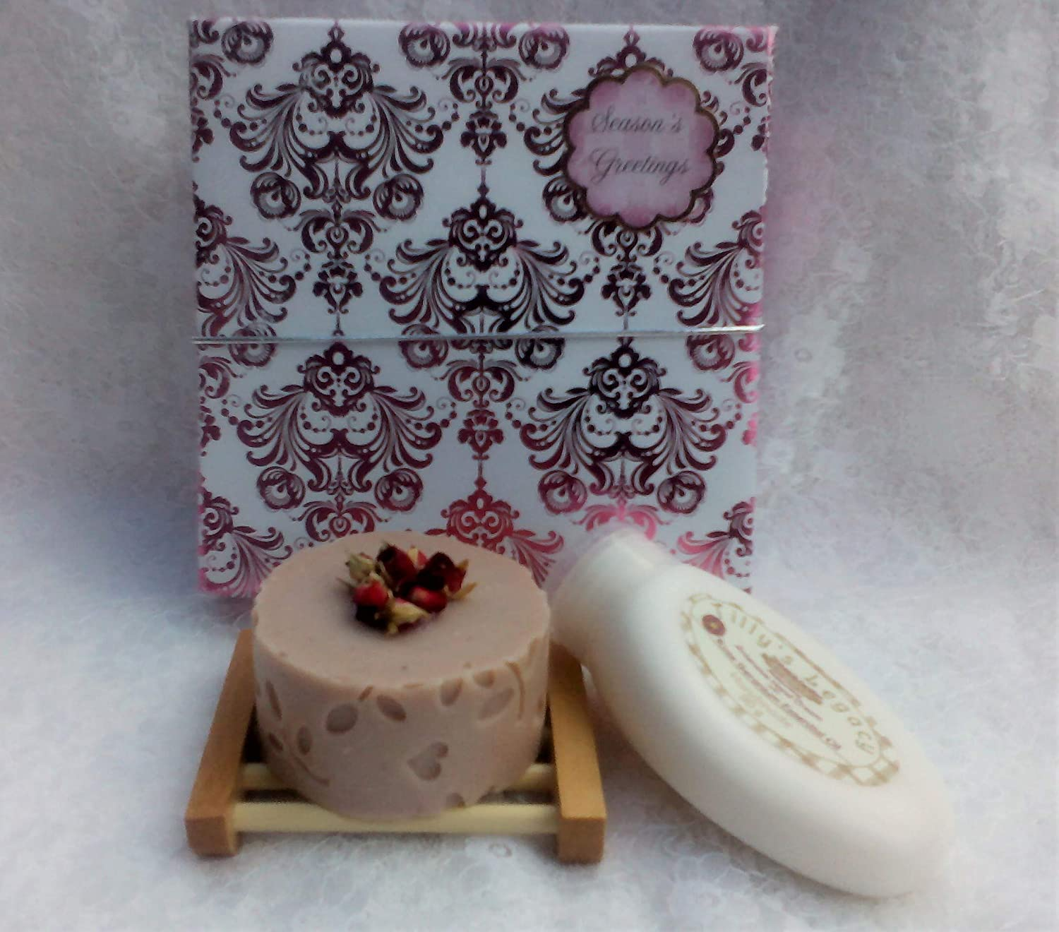 Tilly's Legacy. Petals Essential Oil Soap Gift Box. Olive & Hempseed Oil Soap, Organic Egyptian Rose Geranium Hand Cream and a Bamboo Mini Soap Dish. Vegan.
