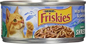 Friskies Wet Cat Food, Savory Shreds With Whitefish and Sardines In Sauce, 5.5 Oz Can (Pack of 1)