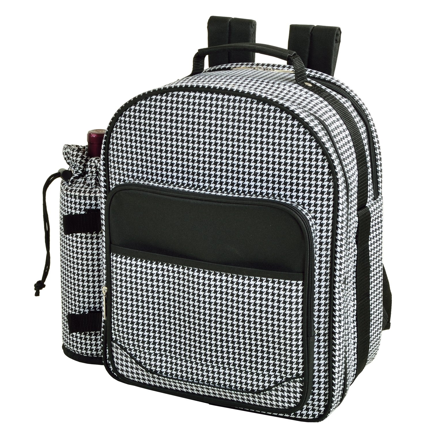 Picnic at Ascot – Deluxe Equipped 2 Person Picnic Backpack with Cooler Insulated Wine Holder – Houndstooth