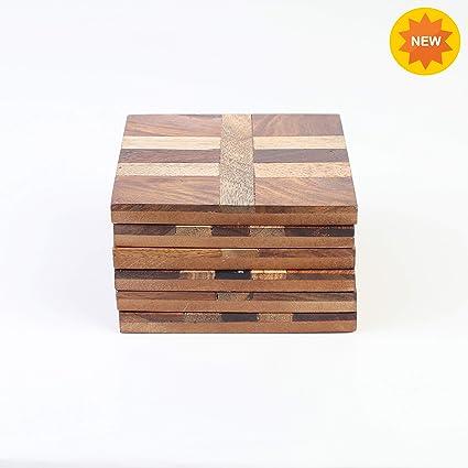 Amazon.com: Juego de 6 posavasos de madera rústica para ...