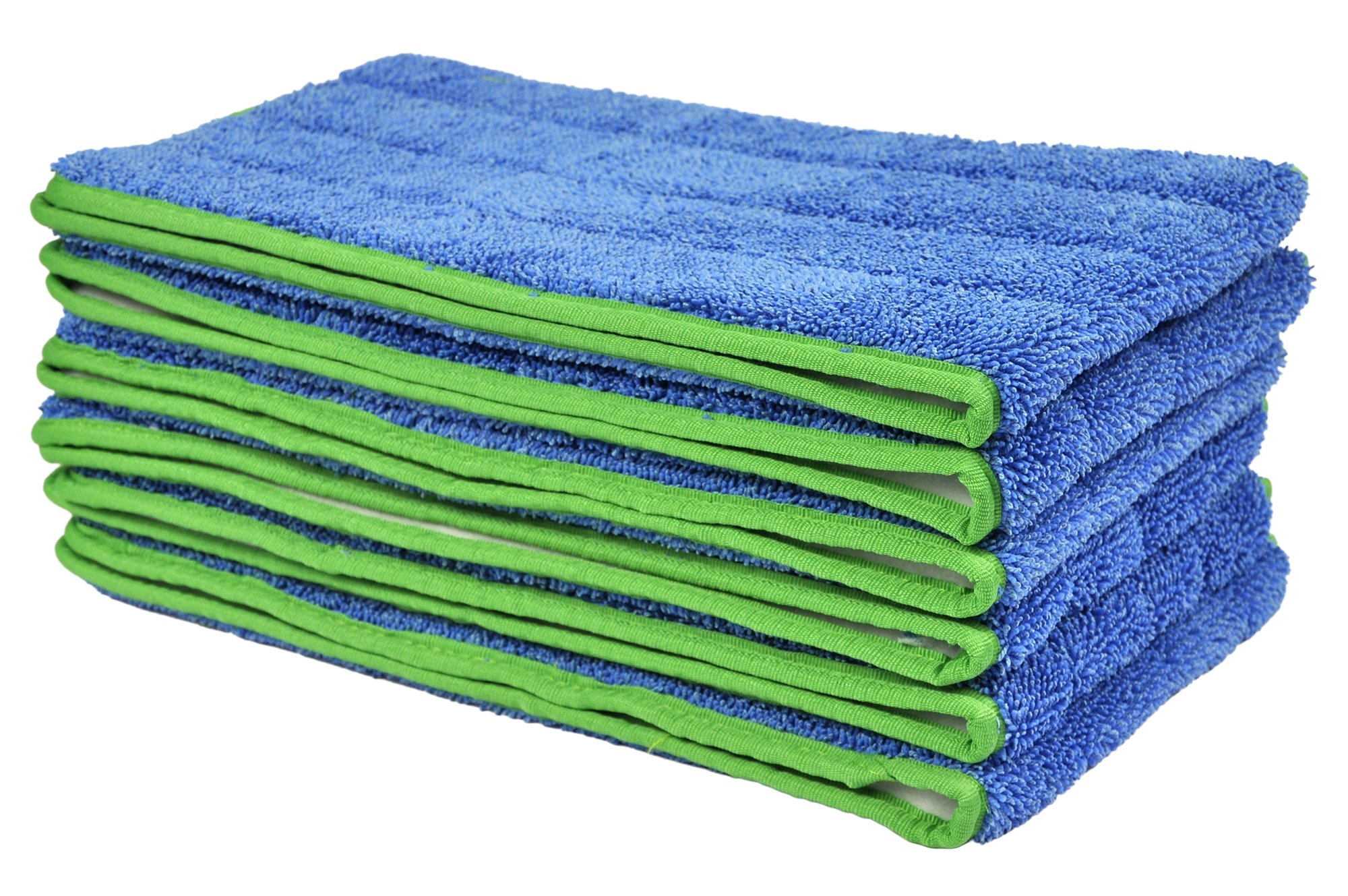 CleanAide All Purpose Mega Microfiber Mop Pad 24 Inches Green 6 Pack