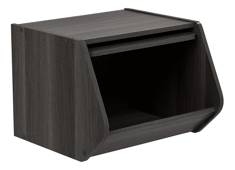 Black SBO BLACK 596114 Modular Wood Stacking Open Storage Box IRIS USA 1 Pack Inc