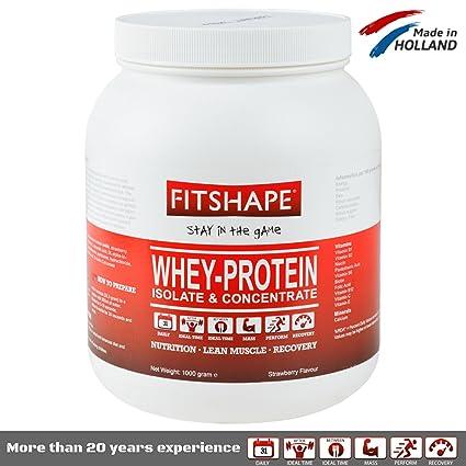 Fitshape 100% Whey Proteína en Polvo Isolate – sabor vainilla fresas plátano y chocolate -