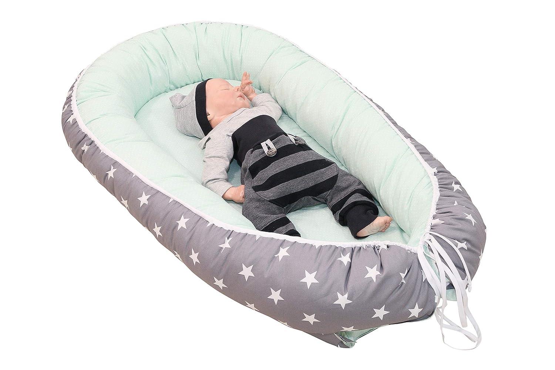 Motiv: Sterne Baby Cocoon /& Kuschelbett ULLENBOOM /® Babynest /& Kuschelnest ideal als Reisebett Made in EU 55x95 cm Punkte Mint Grau - Baby Nestchen aus Baumwolle