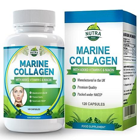 Complejo de Colágeno Marino, suplemento antiarrugas de alta concentración con niacina y vitamina C.