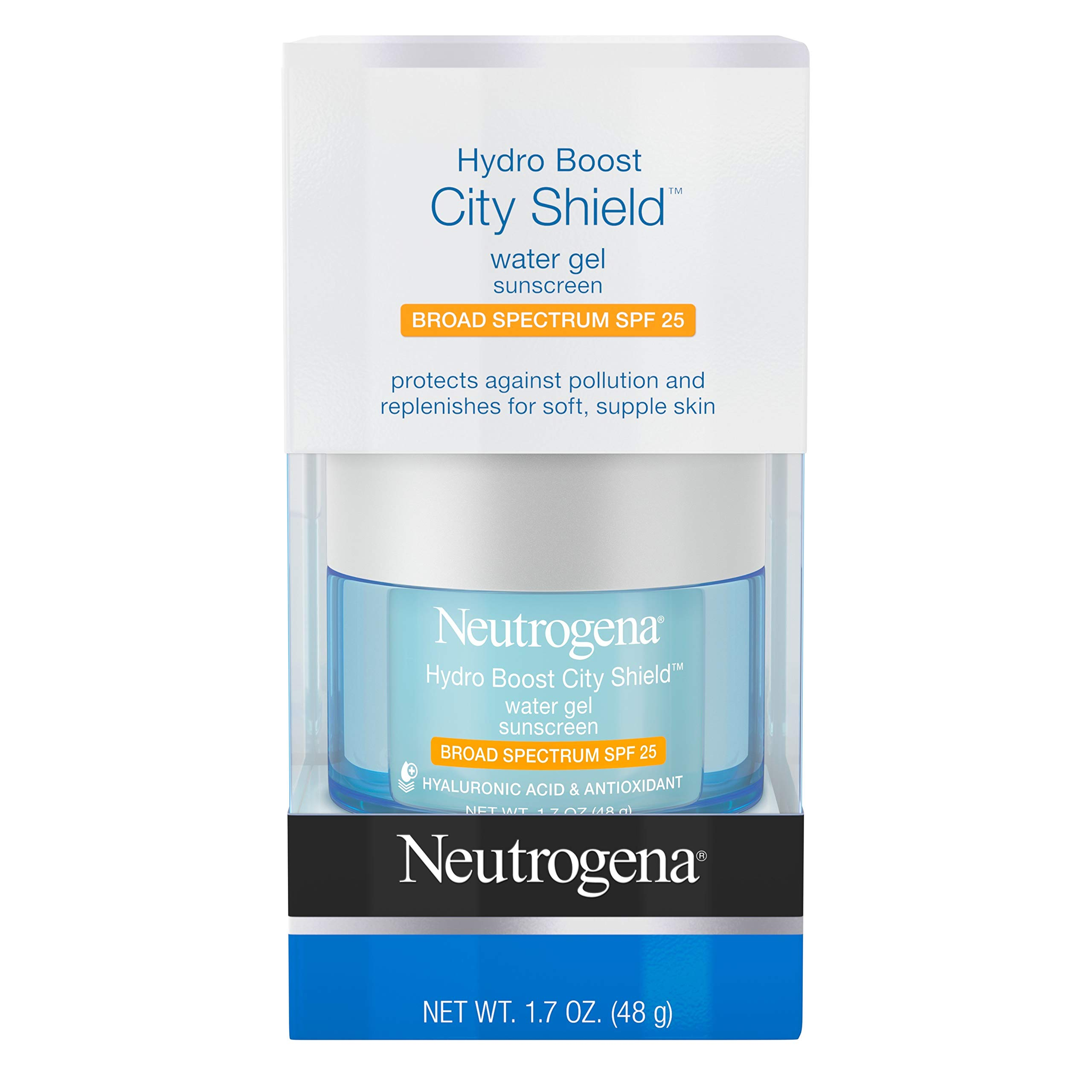 Neutrogena Hydro Boost City Shield Water Gel with Hydrating Hyaluronic Acid, Antioxidants, and Broad Spectrum SPF 25 Sunscreen, Oil-Free, Alcohol-Free, Non-Comedogenic, 1.7 oz by Neutrogena