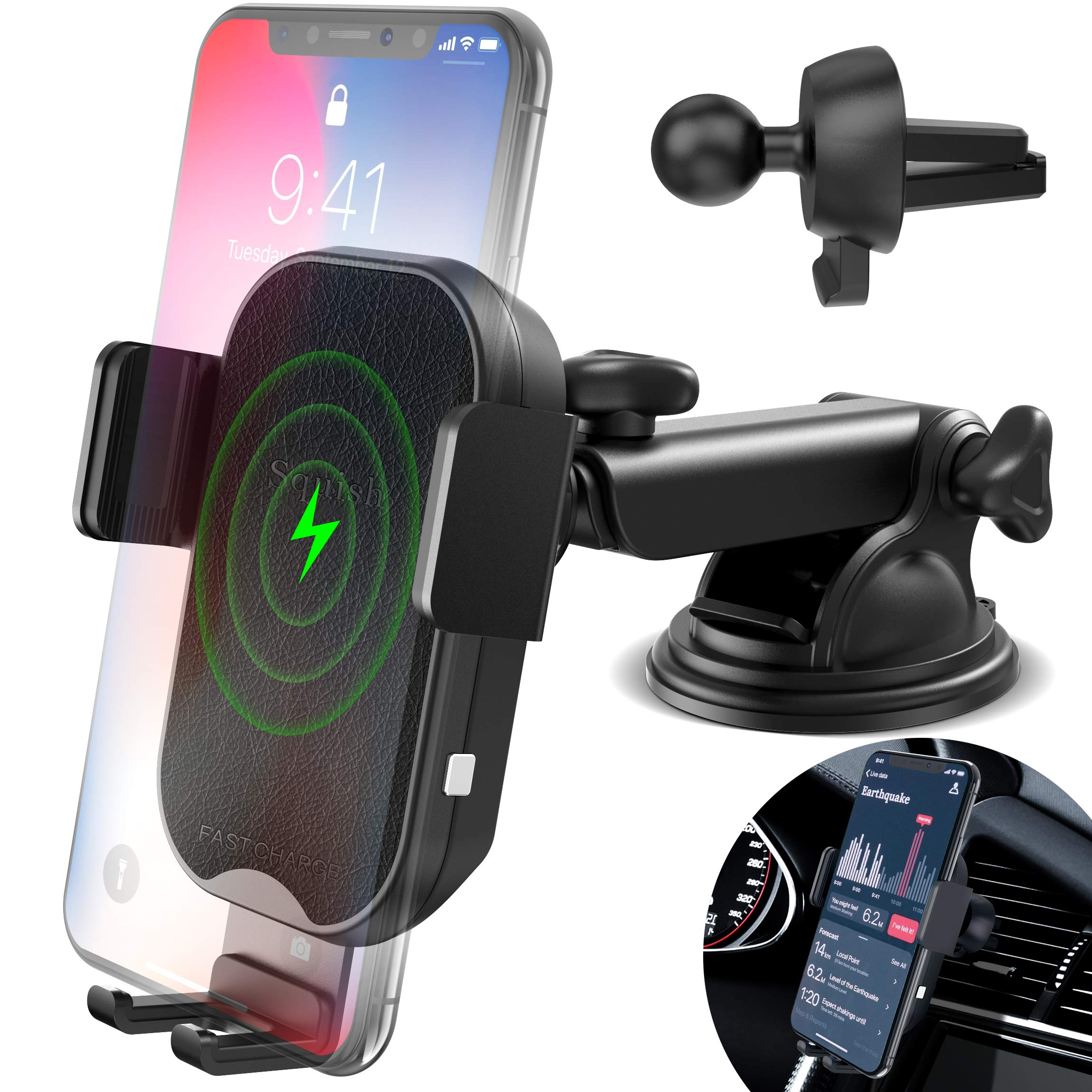 Wireless Charger Car Phone Mount, Squish Fast Charging Qi Wireless Car Charger, Auto Clamping Car Phone Holder for Air Vent Dashboard for iPhone Xs Max/XS/XR/X/8Plus/8 and Samsung S10 S9 S8 Note 9 8 7