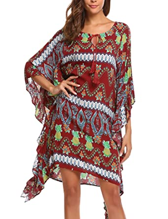 49ec6fa94 BEAUTYTALK Women's Bohemian 3/4 Batwing Sleeve Neck Tie Printed Casual Loose  Tunic Dress
