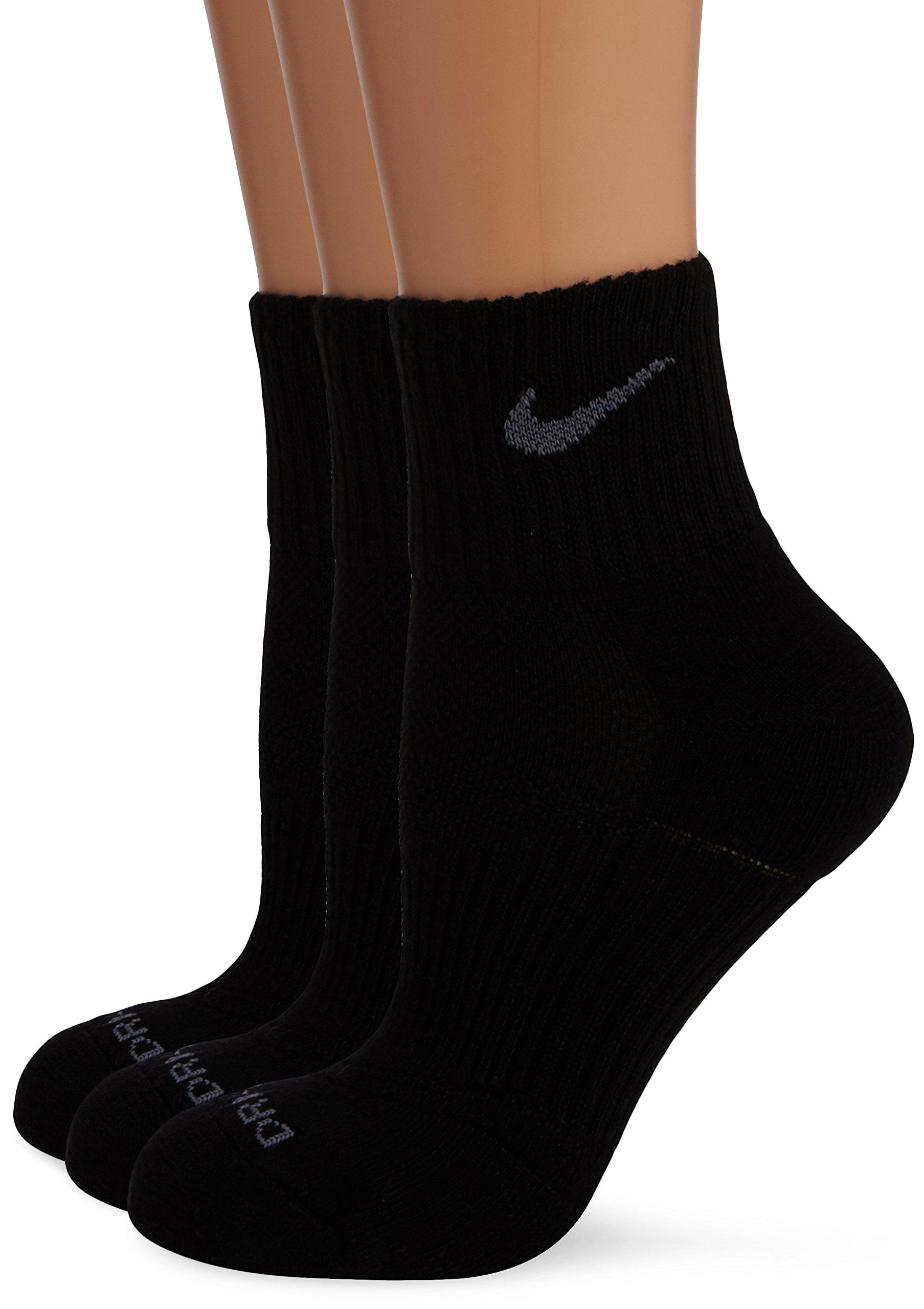 Nike Dri-Fit Half Cushion Quarter Socks (3 Pack) Black SX4835-001 Size Medium (6-8)