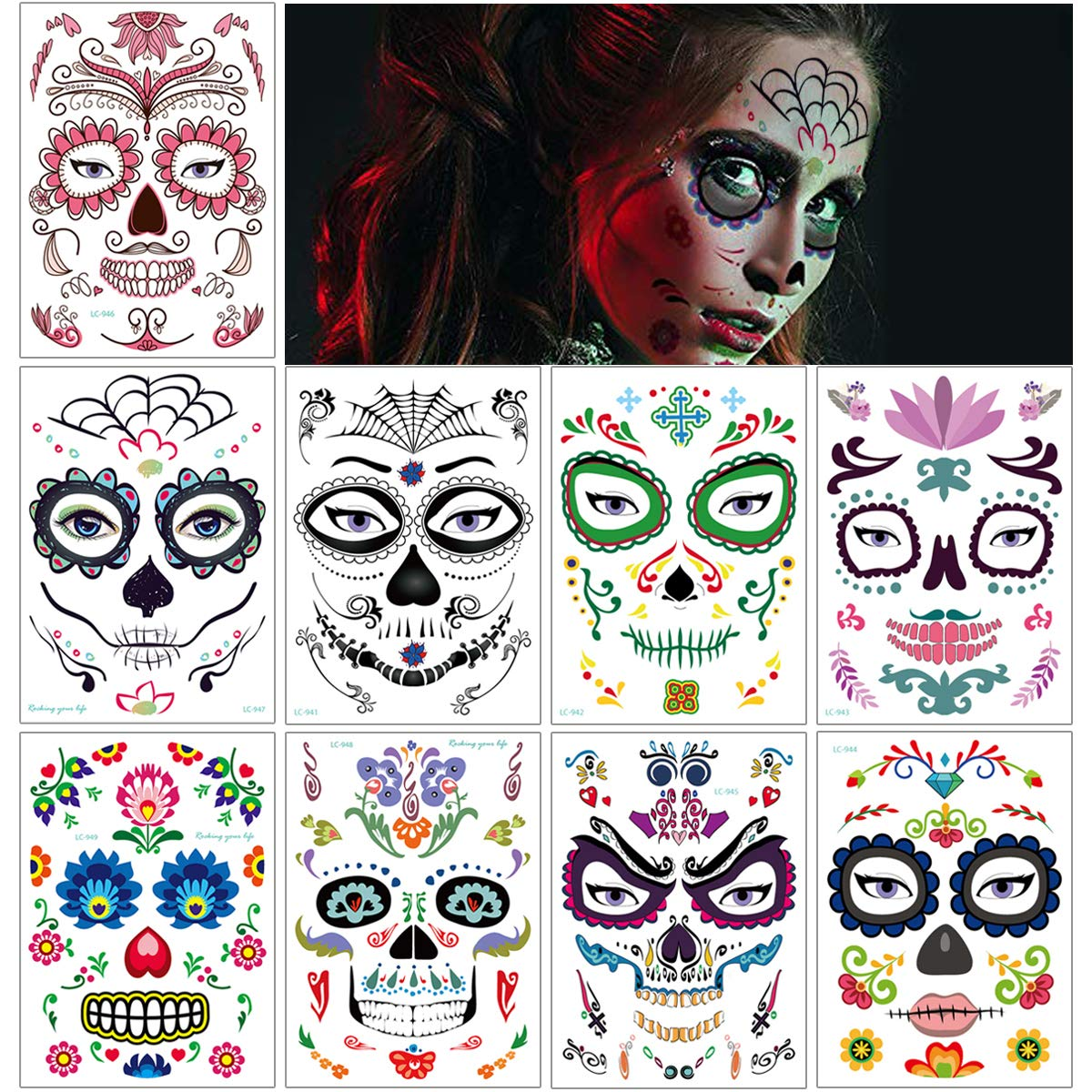 Halloween Face Temporary Tattoos Sticker for Adults Women Man Party Makeup Day of the Dead Sugar Skull Skeleton Art Waterproof Design Tattoos Halloween Decoration Favor Supplies 9 Sheets