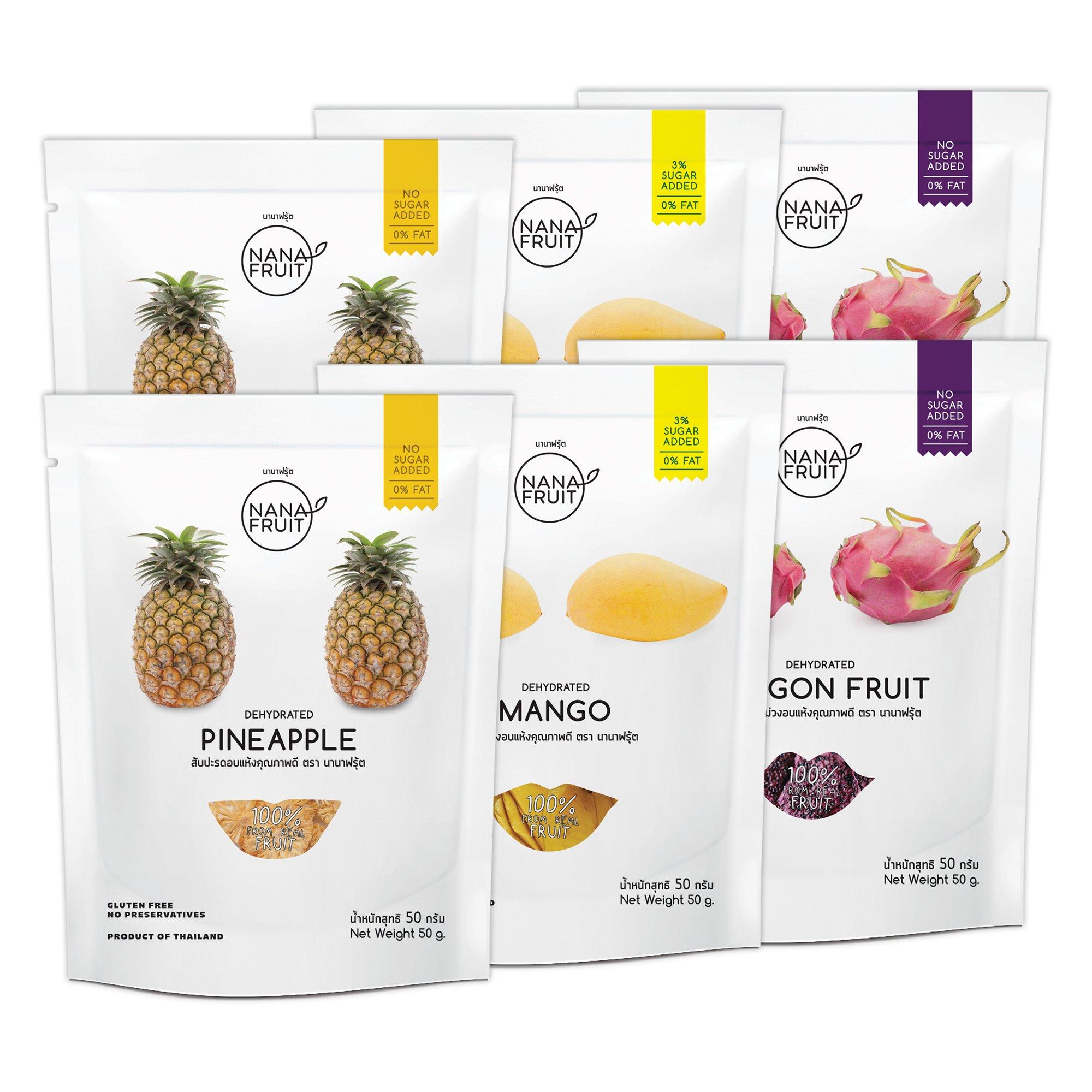 Nana Fruits Dried Pineapple Pack 50g. (2 Pack) Mango Pack 50g. (2 Pack) and Dragon Fruit Pack 50g. (2 Pack)