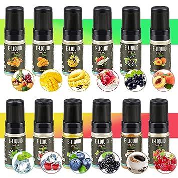 7c7fd08f5259 RenFox 12 X 10ml E-Liquide pour Cigarette Electronique Liquide sans  Nicotine ni Tabac avec ...