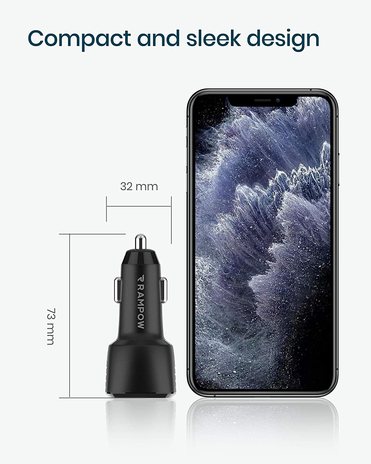 RAMPOW 37.5W USB C Car Charger USB Car Charger for iPhone 11//XS Max//XR//X//8//7 Samsung S10//S9//S8 and More 6A Dual Port Car Charger with 18W Power Delivery 3.0 and 19.5W Quick Charge 3.0 Black