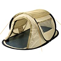 """CampFeuer Wurfzelt """"Quiki"""" I 2 Personen Quicktent I Campingzelt für Festival und mehr I wasserabweisend I Pop-Up Zelt (Creme / Beige)"""