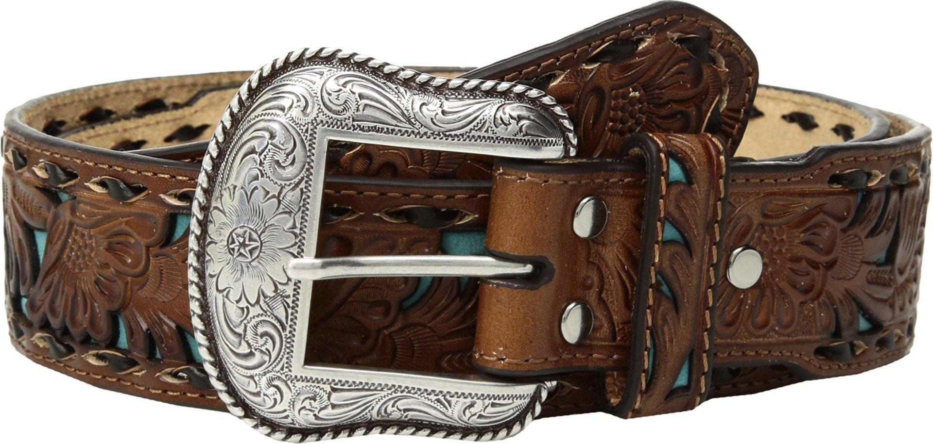 Nocona Men's Tan Dark Buck Blue in Taper Belt, Brown, 38