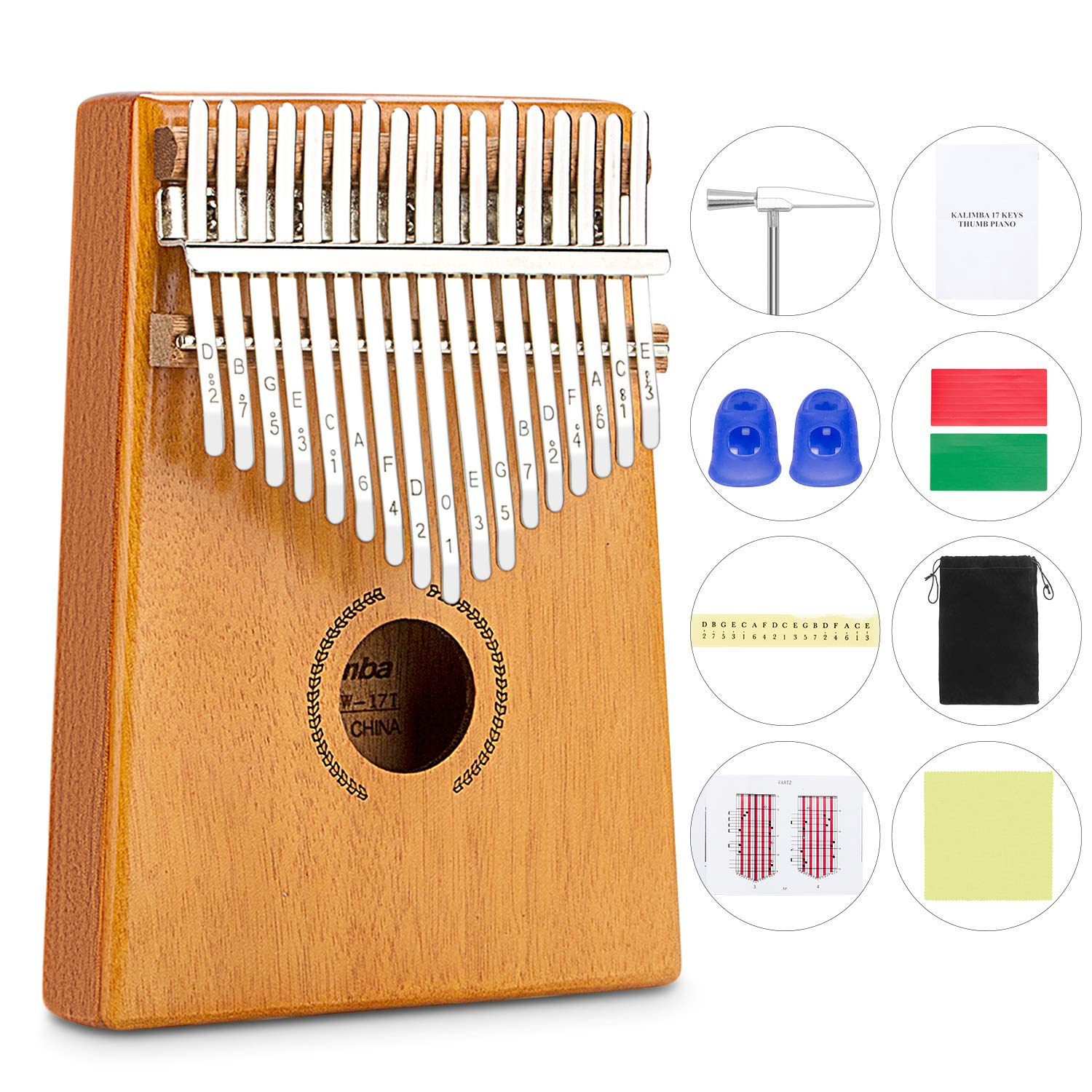Kalimba 17 Keys,Thumb Piano with Tune Hammer Music Book Finger Piano Toys Gifts for Kids Adult Beginners Professional