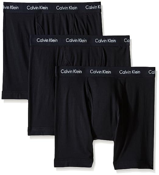 Calvin Klein Men's Underwear Cotton Stretch 3 Pack Boxer Briefs, Black, Medium