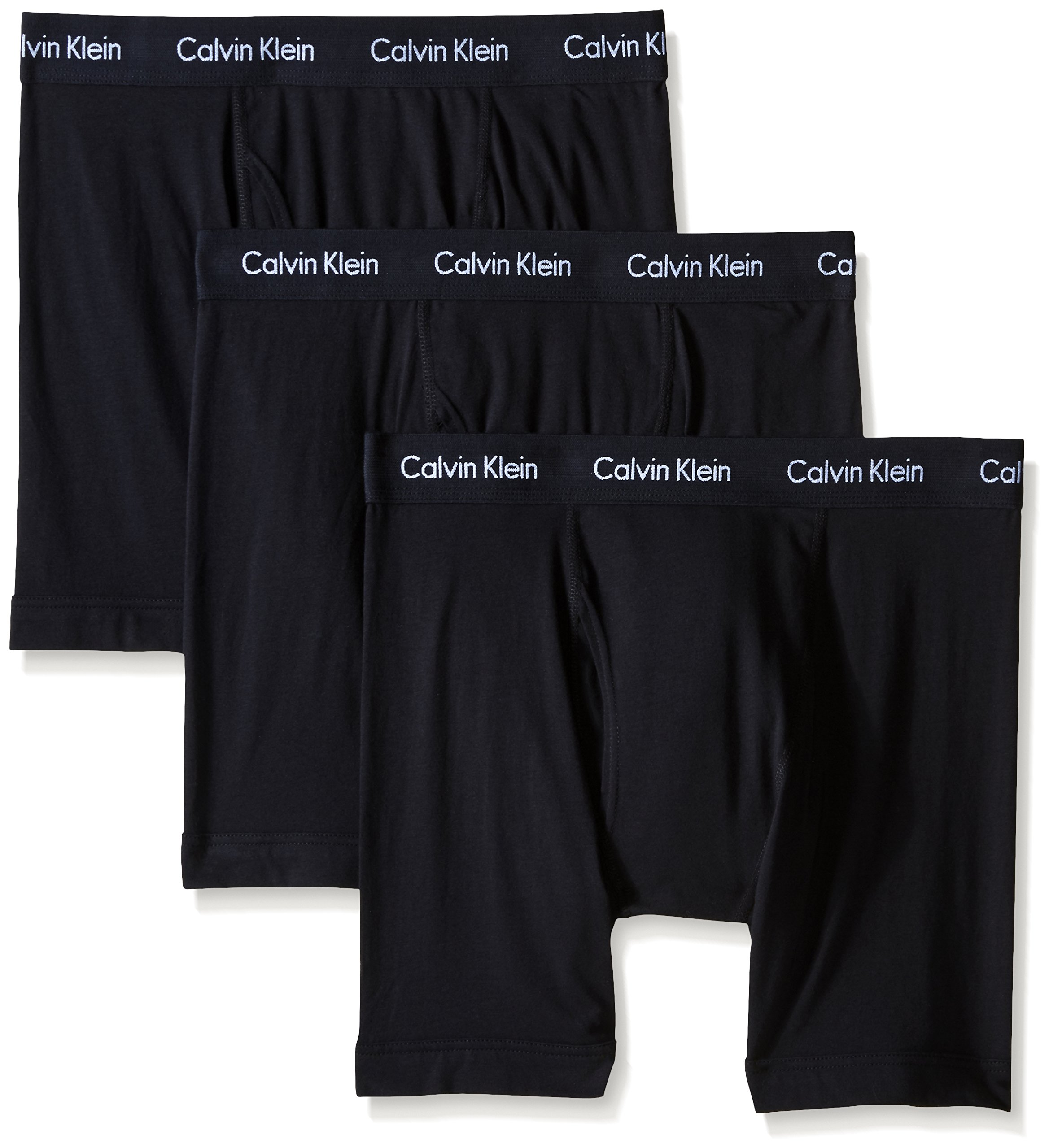 Calvin Klein Men's Underwear Cotton Stretch 3 Pack Boxer Briefs, Black, Large