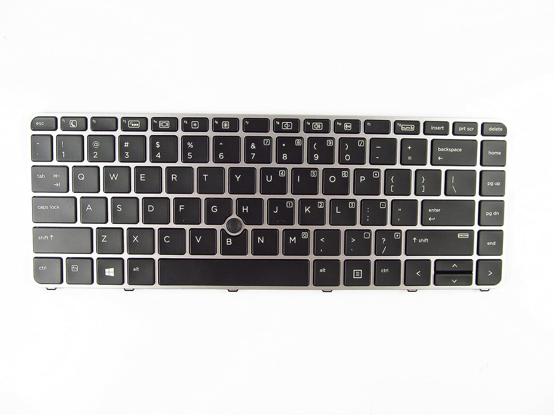 Keyboard for HP EliteBook 745 G3 G4 840 G3 G4 836308-001 821177-001 with Backlit Pointer, Silver Frame