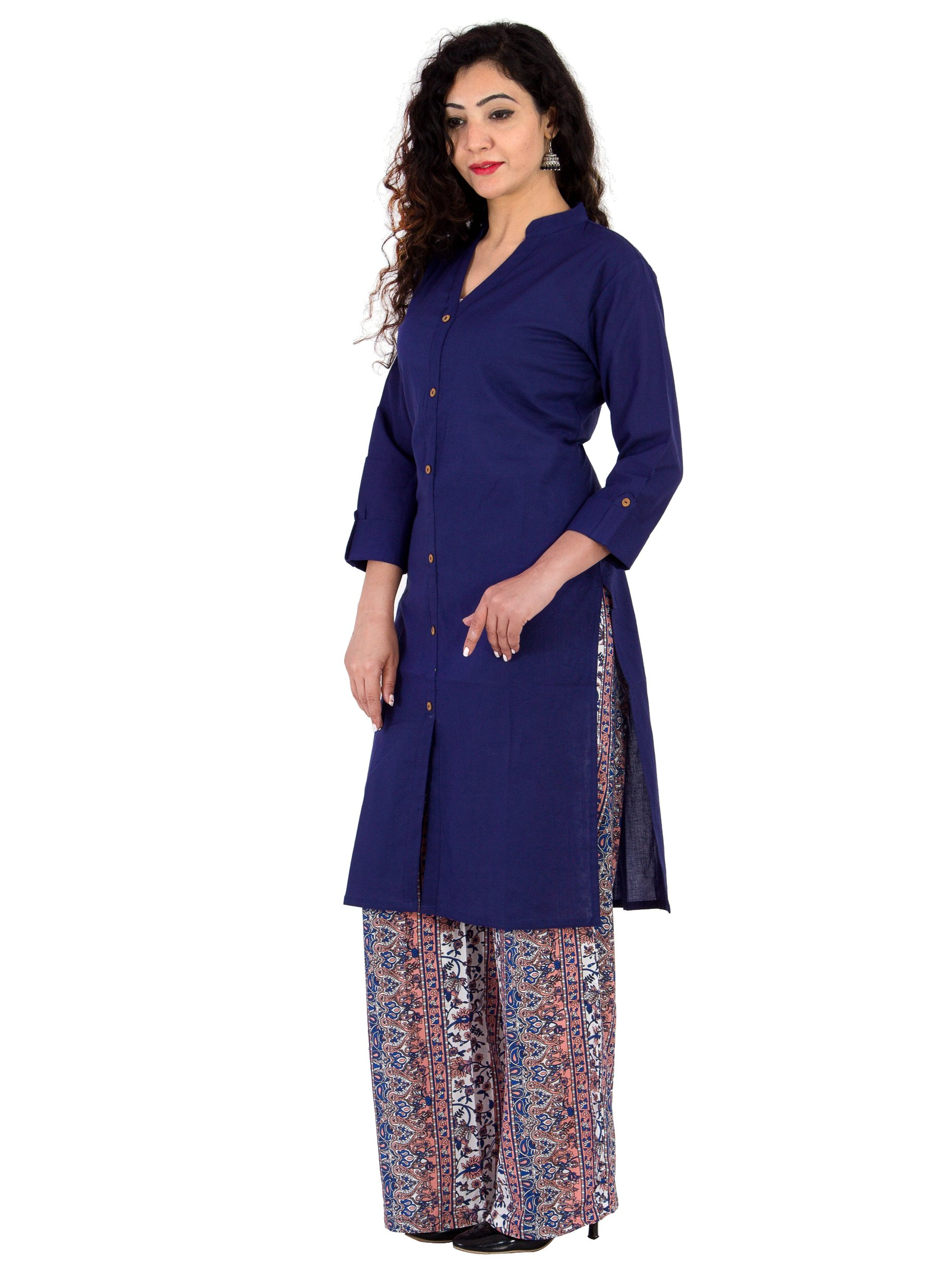 BrightJet Designer Purple Cotton Frontslit Women Fashion Kurti A-line Kurta Top Tunic with Rayon Printed Floral Plazzo Set Party Dress Casual (XL)