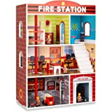 Best Choice Products 32in Kids Large Wooden 3-Story Model Fire Station Play Set Toy w/Fire Engine, Helicopter, 14…