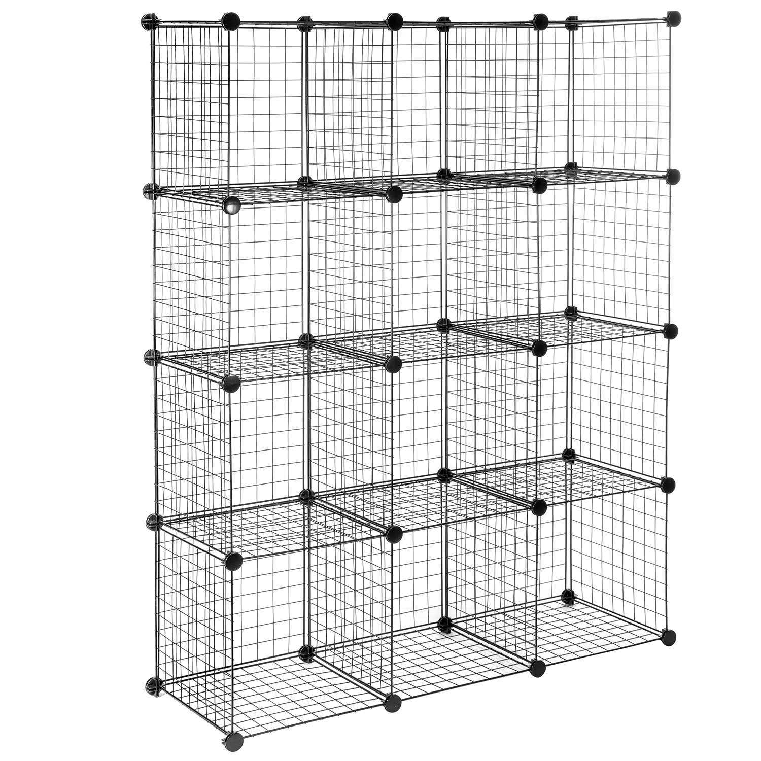 Wire Storage Cubes, MaidMAX Free Standing Modular Shelving Units Closet Organization Systems, 12 Wire Grids, Black 903092
