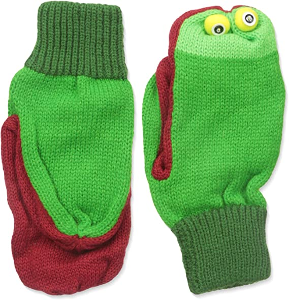 Kidorable Green Frog Soft Acrylic Knit Mittens w//Fun Frog Puppet Mouth and Eyes
